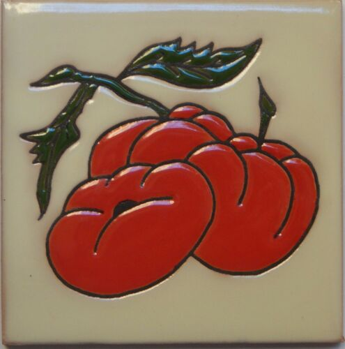 Mexican Tile Malibu Vegetable Santa Barbara Tiles Cuerda Seca Tomatoe F-04