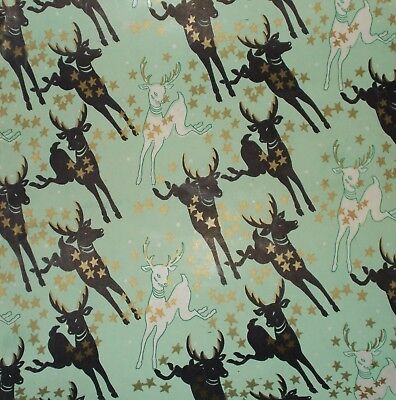 VTG CHRISTMAS 1940 WW2 WRAPPING PAPER FROM STORE ROLL 2 YARDS DEER & STARS