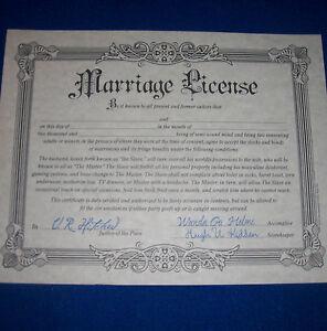 Fake marriage license joke wedding gift prank certificate bachelorette party ebay for Fake gift certificate