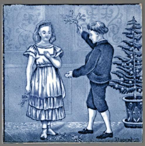Wedgwood - c1879  DECEMBER - Chistmas Season - Antique Victorian Tile - Trivet