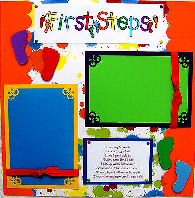 First Steps  One 12X12 Premade Scrapbook Page