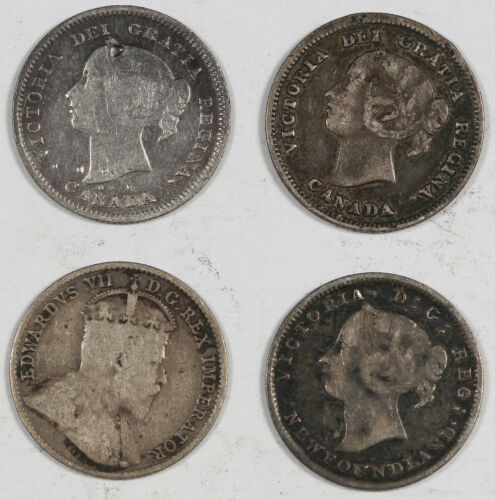 Canada & NewFoundLand 1885-1943 5 Cent & 10 Cent Silver 15 Coin Collection