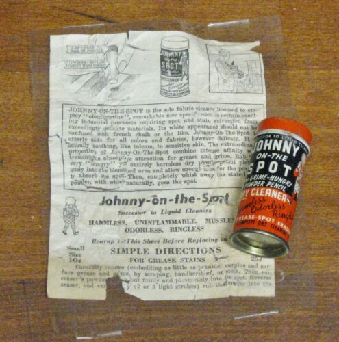 Vintage Johnny-on-the-Spot Dry Cleaner Powder Stick~Grease Spot Remover