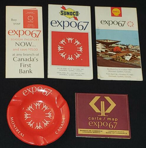 1967 - MONTREAL WORLD FAIR - EXPO 67 - COLLECTIBLE ITEMS (5) - ORIGINAL