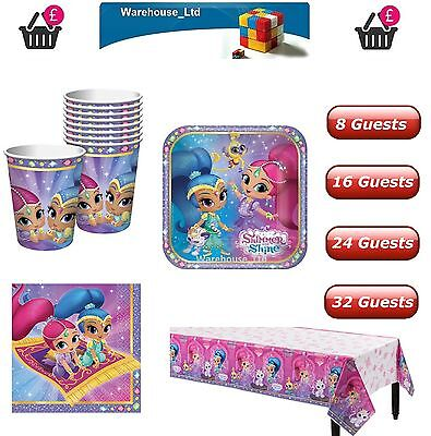 SHIMMER AND SHINE PARTY KIT 8 - 40 GUESTS Plates, Cups Napkins, Table Cover