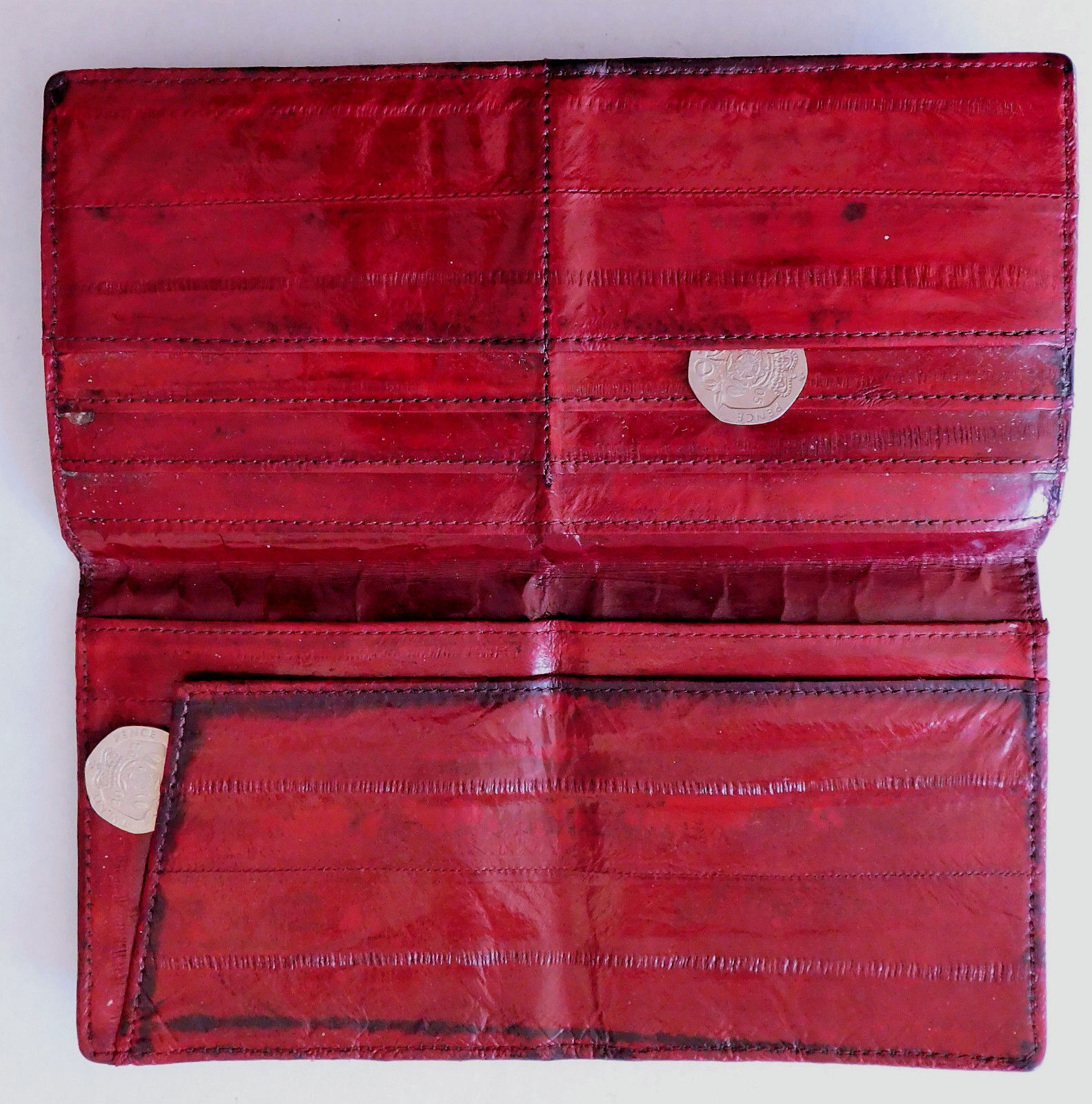 Vintage oxblood leather wallet credit card holder good quality