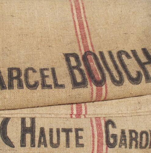 Large Vintage French Hessian Jute Burlap Sack Grain Harvest Bag