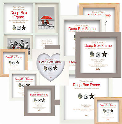 Deep Box Frames - Wooden Display Picture Frames Choice of 3 Colours and 6 Sizes