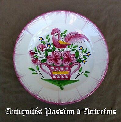 B20171023 - Assiette décorative en faïence de Luneville - France - 1 petit éclat