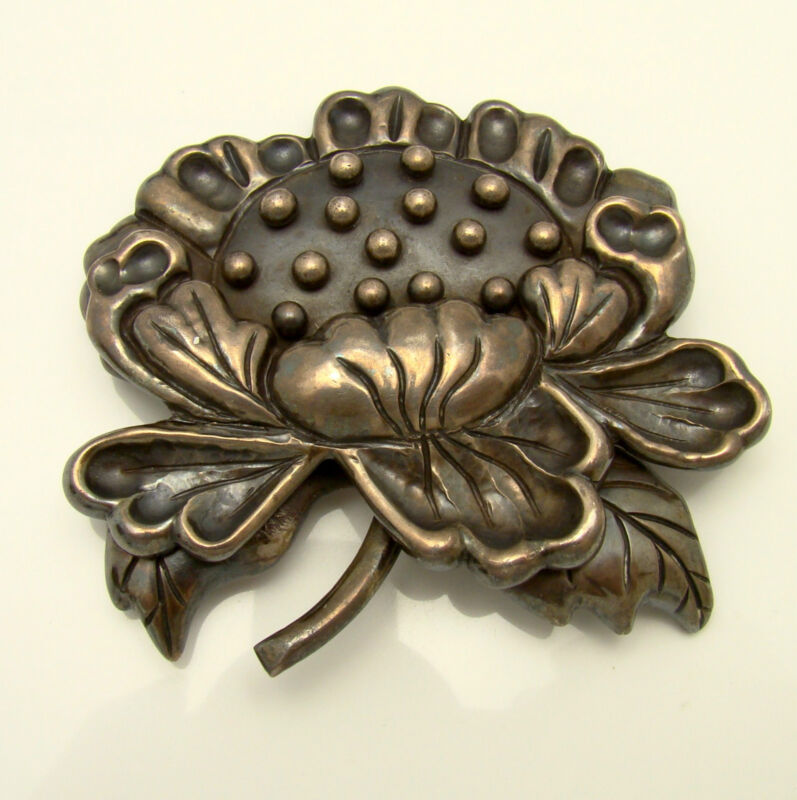 Brooch Hector Aguilar Sterling Large Flower HA in Circle 1943-1948 Vintage