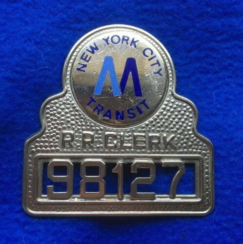 Vintage New York City Transit Subway MTA Train Metropolitan RR Clerk Badge