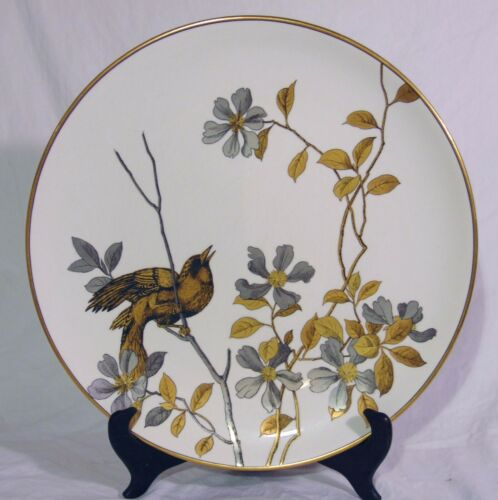 """Rare English Minton Mintons 15"""" Wall Charger Plate Gold Platinum Bird Branches"""