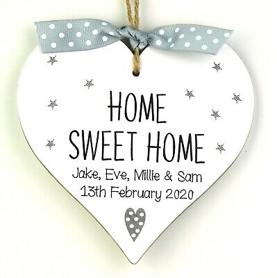 Personalised First Home Sweet Home Gift Heart Plaque Sign Moving New House Grey