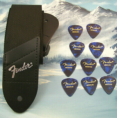 GUITAR STRAP ~ GENUINE FENDER ~ BLACK w/ SILVER LOGO  + 10 MEDIUM BLUE 351 PICKS