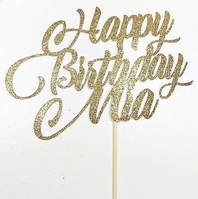 Custom name cake topper happy birthday sweet sixteen party decorations (Custom Cake Topper)