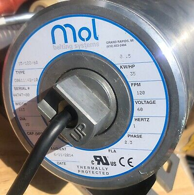 Mol Powered Conveyor Roller 35 Fpm 115v 1-phase New