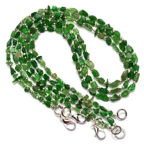 "Natural Gem Rough Tsavorite Freeform Nugget Bead Necklace 18"" Green Garnet 50Cts"