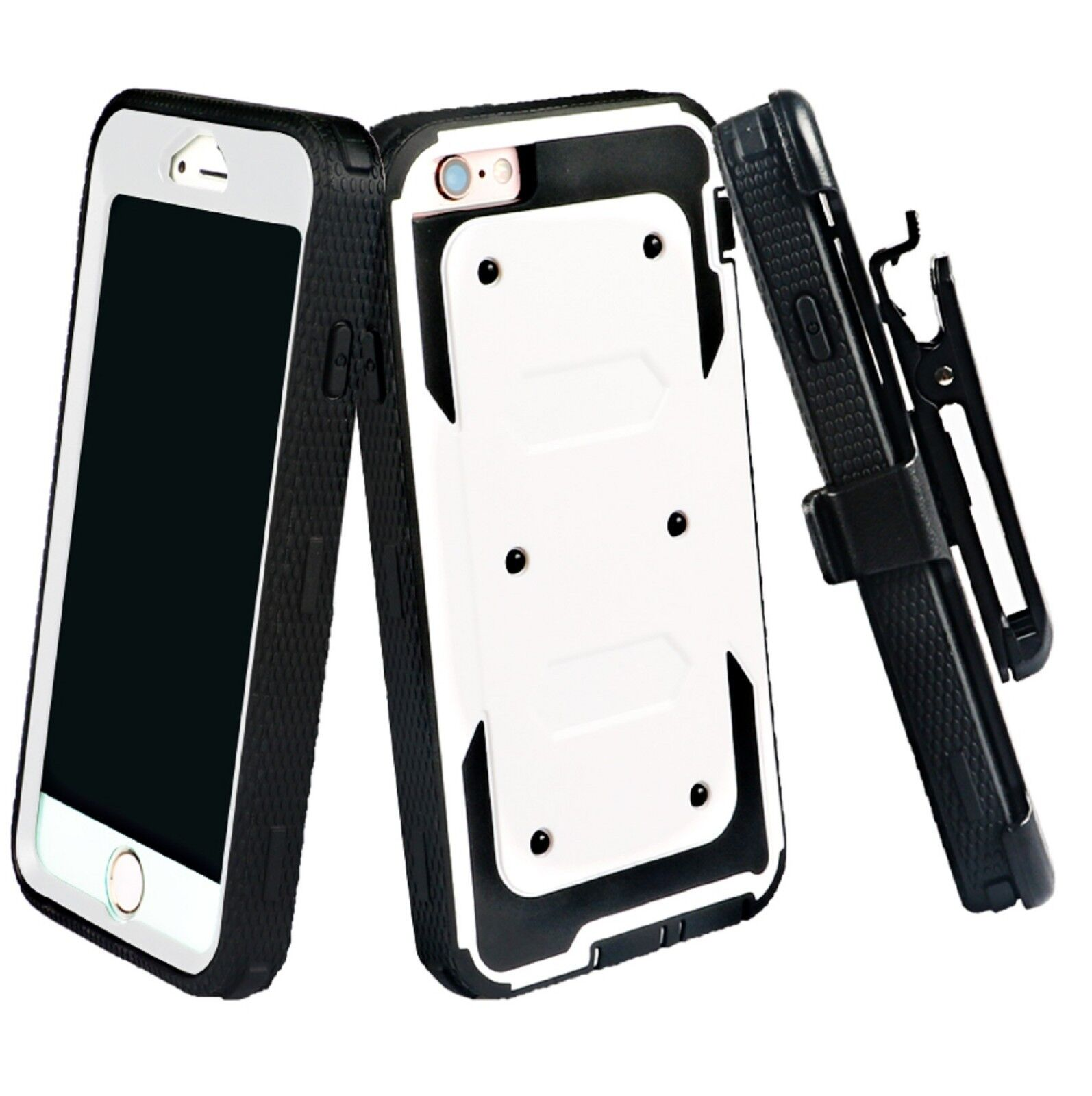 For iPhone 8 7 6 6s Plus Full-body Holster Case Built-in Screen Protector