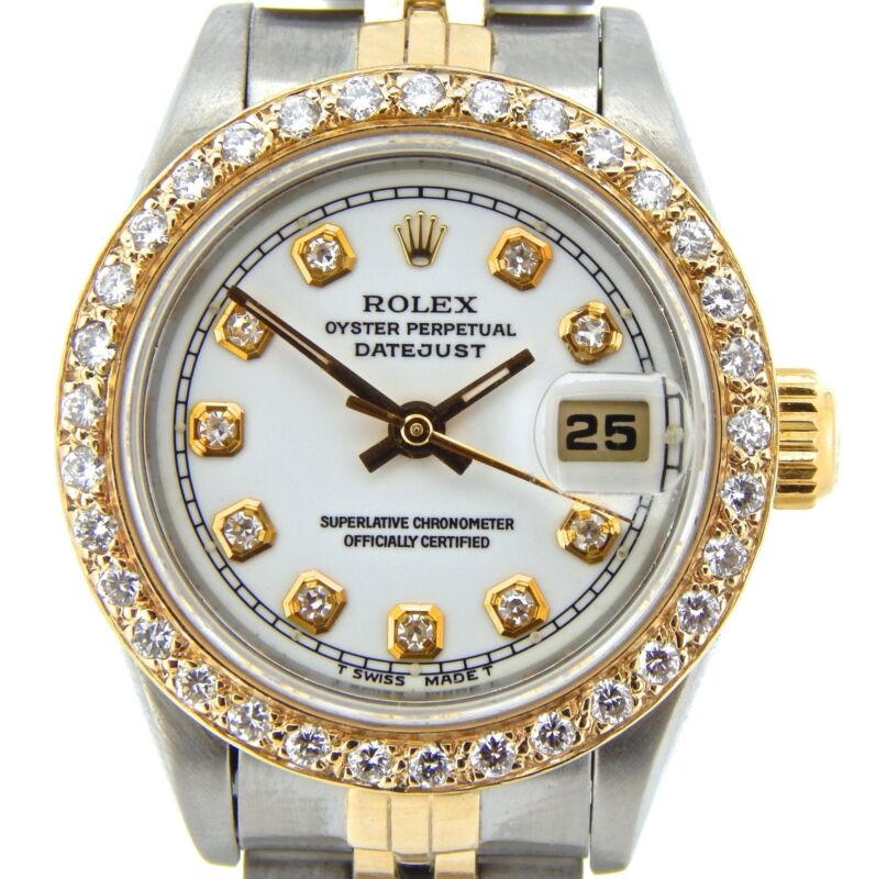 Rolex Datejust Lady 2tone 18k Gold Steel Watch White Diamond Dial & Bezel 69173
