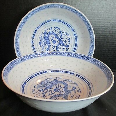 "Chinese Blue & White Porcelain Dragon & Rice Eyes 2 Vegetable Bowls 9"" & 8"""