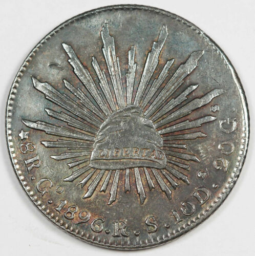 "MEXICO Republic 1896 Go RS 8 Reales Silver Coin AU ""CAP AND RAYS"" Nicely Toned"