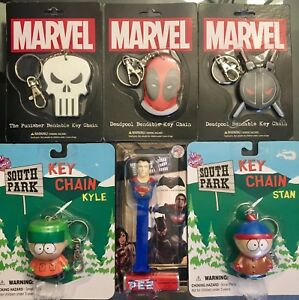 Brand new collectable keychains (South Park and Marvel)