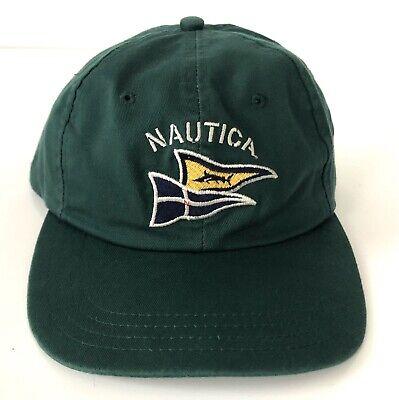 Nautica Vintage Baseball Cap Hat Sailing Spellout Green Flags Yacht Strapback