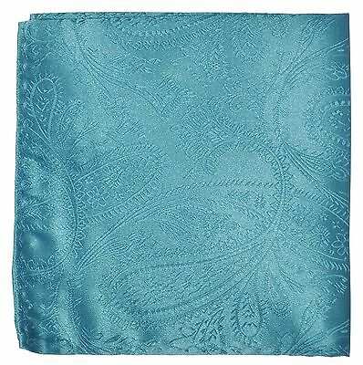 New Men's Polyester Woven pocket square hankie only turquoise blue paisley prom