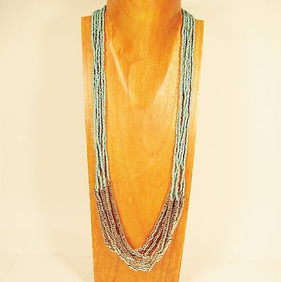 """32"""" Long Multi Strand Turquoise Handmade Silver Tone Seed Bead Necklace"""