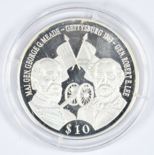 2000 Liberia $10 Battle of Gettysburg .999 Silver 30mm Proof Coin w/ Capsule