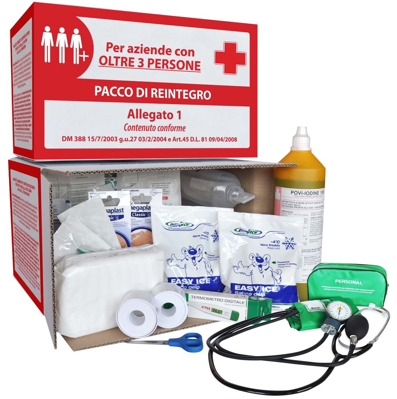 KIT REINTEGRO ALLEGATO 1 PER CASSETTA MEDICA PRONTO SOCCORSO + 3 DIP. C/SFIGMO