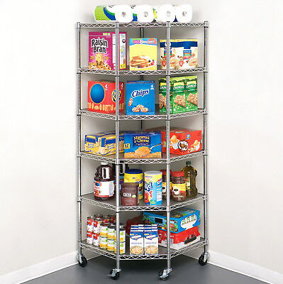 Heavy Duty Wire Steel 6-tier Corner Shelf Garage Storage Shelving Rack Chrome