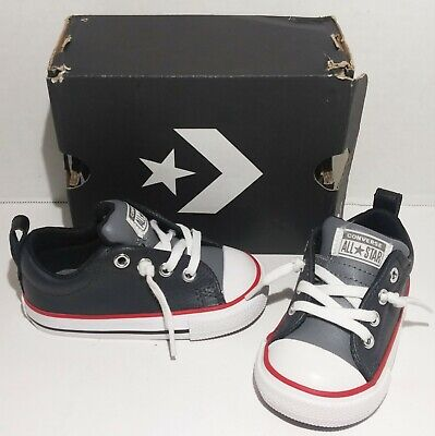 Converse All Star Toddler Baby Infant Boy's Size 5 Leather Gray/Black Low Shoe