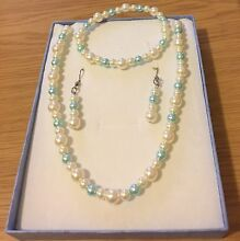 Brand New Handmade Cream & Mint Green Glass Pearl Beads Jewelry Set Prestons Liverpool Area Preview