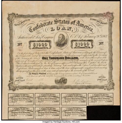Confederate $1000 Contemporary Counterfeit Bond