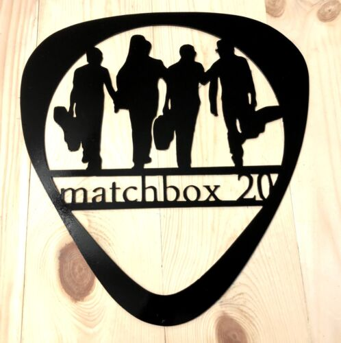 Matchbox 20 wall art metal sign-Band Silhouette Guitar pick shaped-Music studio