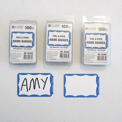 300 Blue Border Badges Name Tags Labels Id Stickers Peel And Stick Adhesive