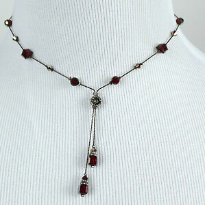 DABBY REID NEW Red Velvet Crystal Double Dangle Y Necklace HDN4188B Y30