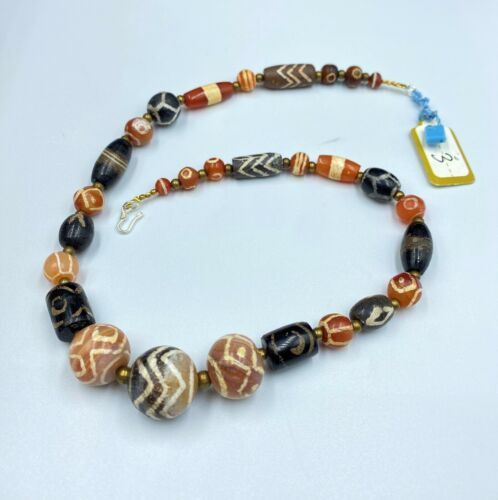 Etch carnelian  and Agate beads Antique Himalayan