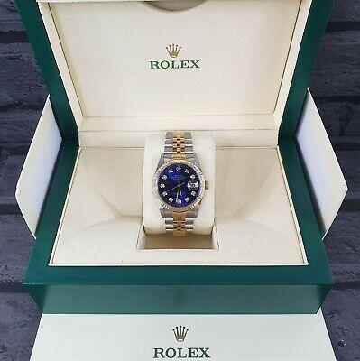 Mens Steel & Gold Rolex Datejust with 'Submariner' Blue Diamond Dial - Rolex Box