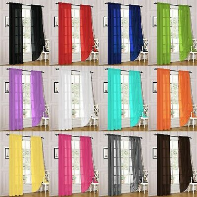 2 Piece Sheer Voile Rod Pocket Window Panel Curtain Drapes Many Sizes & Colors 2 Curtains Panels Drapes