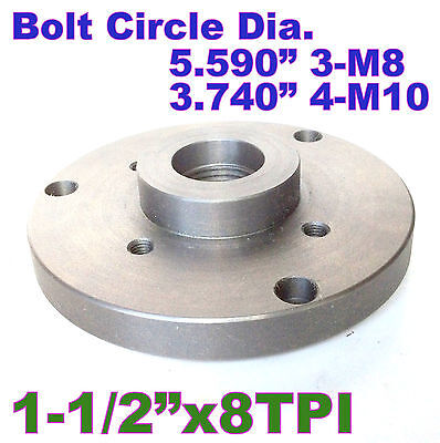 1 Pc 6 Back Plate For Lathe Chuck Threaded 1-12-8tpi Sct-888