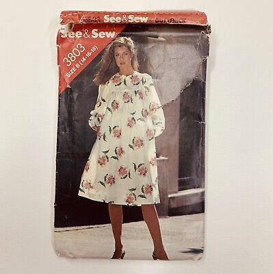 80s Dresses   Casual to Party Dresses Vtg 1980s See & Sew 3803 MuuMuu Dress Long Sleeve MODEST 14-16-18 UNCUT $9.99 AT vintagedancer.com