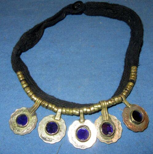 "Necklace Choker Black String Gemstone Coin Afghan Tribal Kuchi Alpaca Silver 20"""