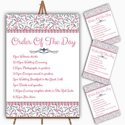 Dusty Coral Pink And Navy Blue Floral Wedding Order Of The Day - Pink And Navy Wedding
