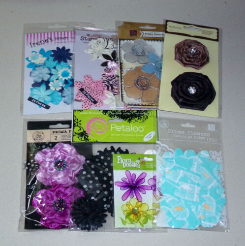 Lot of Flower Embellishments - Prima, Petaloo, Recollections & more