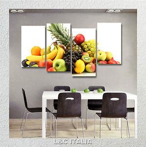 Frutta 5 quadri intelaiati 152x78 quadro arredo casa cucina bar mela kiwi uva ebay - Quadri in cucina ...