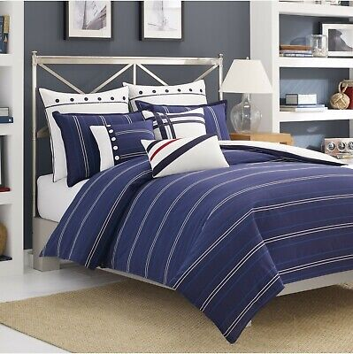 Nautica WINSTON 2pc Twin Set DUVET COVER + SHAM ~ Cotton Blue White Stripe Blue Striped Duvet Cover