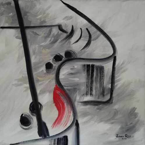 original oil painting piano abstract baby grand home decor canvas signed music