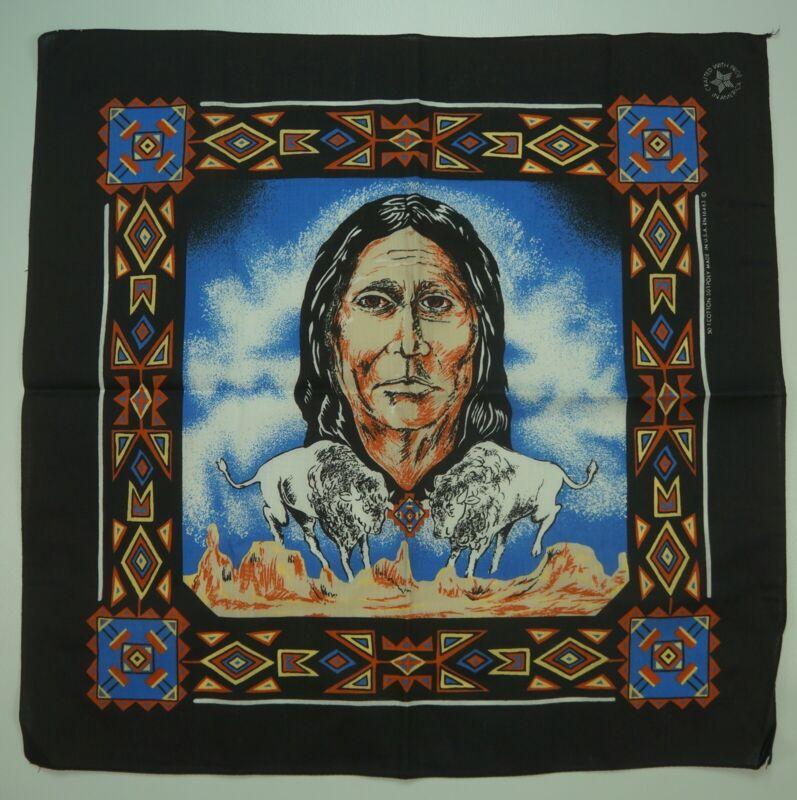 Rare VTG Native American Indian Horse Tribal Aztec Bandana Handkerchief 90s USA